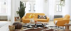 Mid century inspired and beautiful! Cup Loveseat Mustard by Fab | Fab.com $899