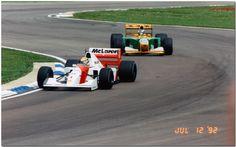 Ayrton Senna Mclaren Honda MP4/7A leads Michael Schumacher Benetton B192 Ford 1992 British GP Silverstone Mclaren Mp4, Michael Schumacher, The Championship, Benetton, F1, Honda, British, Racing, Formula 1