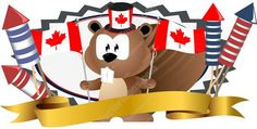 Cartoon Brown Beaver Holding Canadian Flags Wearing Maple Leaf Top Hat Over Gold Banner With Fireworks #banner #beaver #birthday #brown #canada #canadian #detail #flag #header #holiday #identity #July1 #logo #mapleleaf #nationalism #patriotic #PDF #pride #red #sparklers #symbol #vectorgraphics #vectors #vectortoons #vectortoons.com #white