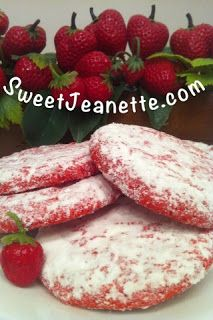 4 ingredient cookies:  One box of Cake Mix (strawberry shown; lemon; carrot; pineapple; spice -- your choice)  1 egg, slightly beaten  One 8 oz tub of CoolWhip, NOT frozen  * 2 cups confectioner's sugar (for powdering the cookies after baked)