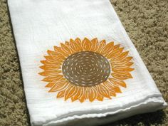 Sunflower Kitchen Towel, block print, flour sack towel (made to order) on Etsy, $12.00