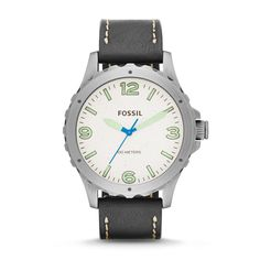 Our favorite timepiece truly unites the rugged and refined into one. Designed with a thick leather strap, Nate gets an update with glowing green indices that pop against a minimalist dial.  ENJOY HUGE SAVING! SAVE 50% OFF! http://www.authenticwatchstore.com/fossil-jr1461-watch-nate-mens-cream-dial.html