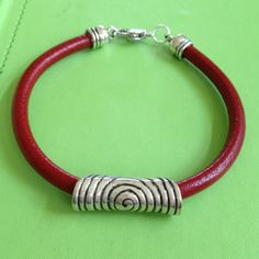 Silver and Red Leather Bracelet by joytoyou41 on Etsy, $30.00