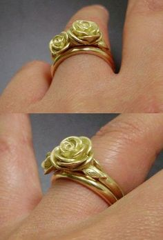The Melissa Wedding Set - 18K Gold, Custom Wedding Set - Handsculpted, Cast Roses in Solid 18K Yellow Gold - MADE-to-ORDER in 5 to 6 Weeks. $1,760.00, via Etsy.
