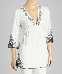 Loving this 3 Angels White & Black Floral-Embroidered Tunic on #zulily! #zulilyfinds