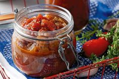 Tomato and Eggplant Chutney. Preserve fresh vegetables to enjoy year-round in this modern tomato chutney. Tomato Chutney, Spicy Eggplant, Eggplant Recipes, Canning Recipes, Gourmet Recipes, Healthy Recipes, Jam Recipes, Antipasto, Cheese