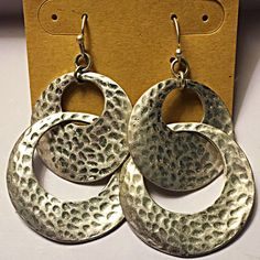 Silver Dangle Hammered Earrings