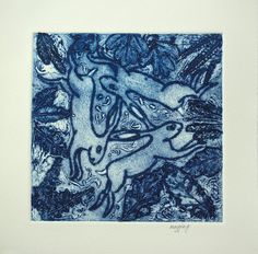 Three Hares Original Print, Collograph Hares Print, Fine Art Animal Picture, Blue Hares Wall Art