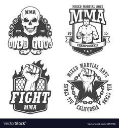 Set Four Mma Emblems Labels Badge Stock Illustration 254593198 Muay Thai Shirts, Mma, Logo Desing, Logo Branding, Logos, Doodle Tattoo, Find Logo, Badge Logo, Love My Kids