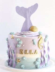 Mermaid cake – For all your cake decorating supplies, please visit www.craftcomp… Mermaid cake – For all your cake decorating supplies, please visit www. Mermaid Birthday Cakes, Cute Birthday Cakes, Birthday Ideas, Little Mermaid Cakes, 5th Birthday, Birthday Desserts, Birthday Cakes Girls Kids, Mermaid Tail Cake, Baby Girl Birthday Cake