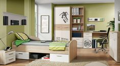 Green peace, peaceful color of the furniture. Perfect for teen room. Winnie, Autumn Crafts, Thing 1, Corner Desk, Kids Room, Entryway, New Homes, Interior Design, Bedroom