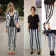 Calças com listras verticais para mulher baixinha