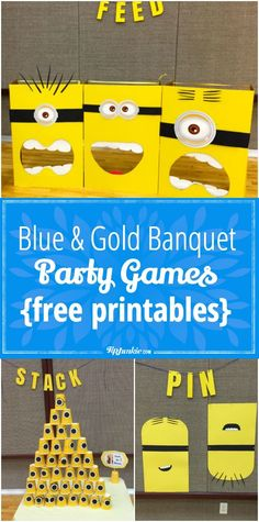 Minions live to serve, and Cub Scouts do too, so what better way to celebrate the Anniversary of Scouting than with a Minions themed Blue and Gold Banquet? Kids Party Games, Birthday Party Games, Birthday Party Decorations, Minion Party Games Activities, Toddler Activities, Birthday Ideas, Minion Party Theme, Minion Games, Homemade Minion Costumes