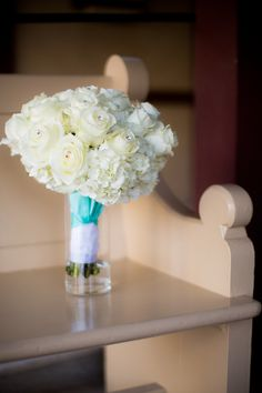 Winter wedding white roses and hydrangea bouquet Tiffany blue ribbon