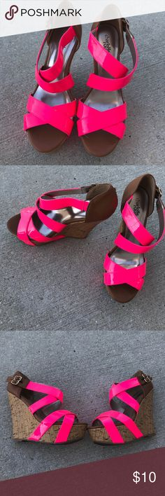Gently used pink heels These are gently used high heels these are in good condition and I have hardly worn them Charlotte Russe Shoes Wedges