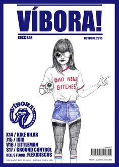 #víbora #viper #eye #girl #jeans #illustration #bic #retro #rock #poster #illustration #azucenagonzalez