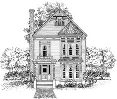 Eplans Queen Anne House Plan - Striking Narrow-Lot Victorian Home - 1950 Square Feet and 3 Bedrooms from Eplans - House Plan Code Smaller but function is great! and has room to enlarge kids bedrooms. Victorian House Plans, Vintage House Plans, Victorian Design, Victorian Homes, Victorian Era, Narrow Lot House Plans, House Plans One Story, House Floor Plans, Second Empire