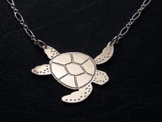 Sea Turtle Necklace  Etched Sterling Silver by OffbeatMelody, $56.00