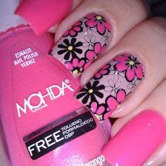 Pink, purple, flowers - so cute! Funky Nails, Cute Nails, Pretty Nails, My Nails, Fabulous Nails, Gorgeous Nails, French Acrylic Nails, Finger Nail Art, Stamping Nail Art