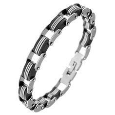 "Biker Style Stainless Steel and Black Rubber Bracelet 8.5"" Long (215 mm) Stylejewelry http://www.amazon.com/dp/B004NFOXS8/ref=cm_sw_r_pi_dp_vdyTtb16FFKSQXMQ"