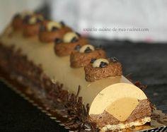 buche au caramel,mousse au chocolat et mousse caramel insert crémeux au caramel beurre salé sur biscuit dacquois