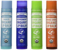 Dr. Bronner's Organic Lip Balm - 4 Pack (Naked, Peppermint, Lemon Lime, Orange Ginger)