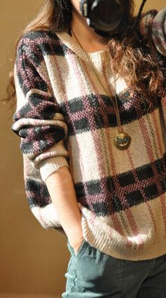 Comfy sweater and a cool necklace