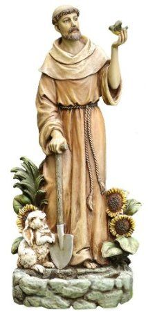 Napco St. Francis with Bird Statue and Birdfeeder, 12-1/2-Inch Tall