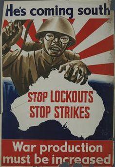 Australian war propaganda poster, He's Coming South Ww2 Propaganda Posters, Political Posters, Vintage Advertisements, Vintage Ads, Vintage Posters, Neutral, Poster Ads, World War One, Military Art