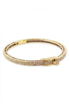 The Woods Brass Bangle With Two Pave Diamond Rows, ,