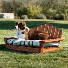 Adirondack Collection: Pet Bed //// OMG, THIS! I'm a huge fan of Adirondack-style chairs. Outside Dog Bed, Do It Yourself Design, Dog Furniture, Furniture Ideas, Outdoor Furniture, Diy Dog Bed, Pet Beds Diy, Dog Houses, Pet Accessories