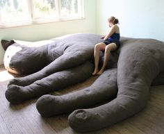 """A Giant Cat-Shaped Couch. Belgian design studio Unfold created a giant, cat couch as part of its June 2010 """"Felis Domesticus"""" installation in Luchtbal, Antwerp. Plush Couch, Cat Couch, Giant Plush, Giant Cat, Crazy Cat Lady, Crazy Cats, Sofa Design, Interior Design, Huge Cat"""