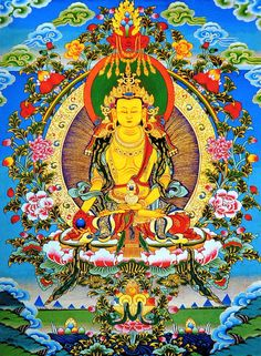 Thangka of Ksitigarbha. A thangka is a painting on cotton, or silk appliqué, usually depicting a Buddhist deity, scene, or mandala of some sort. It is a Nepalese art form exported to Tibet consists of a picture panel painted or embroidered over which a textile is mounted and then over which is laid a cover, usually silk. Thangkas served as important teaching tools depicting the life of the Buddha, various influential lamas and other deities and bodhisattvas.