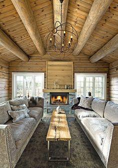 Vil ha kvistfri planker i taket! Rustic Elegance, Rustic Chic, Rustic Decor, Log Cabin Living, Cozy Cabin, Winter Cabin, Cabins In The Woods, Log Homes, House Ideas