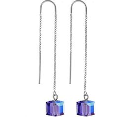 Handcrafted Tanzanite Threader Earring Created with Swarovski Crystals | Body Candy Body Jewelry