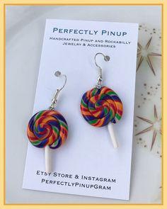 Polymer Clay Lollipop Dangle Earrings Pinup Rockabilly