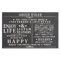 Bring an incredible and awesome expression to your home with this Chesapeake Merchandising House Rules Printed Typography Cotton Charcoal Accent Rug. Chesapeake House, Yoga Quotes, Life Quotes, Cotton House, Paris Home, Strong Love, House Rules, Accent Rugs, Printed Cotton