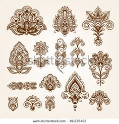 Ornamental flowers. Vector set with abstract floral elements in indian style