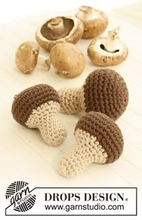 "Forest treasures - Crochet DROPS mushroom in ""Paris"". - Free pattern by DROPS Design"