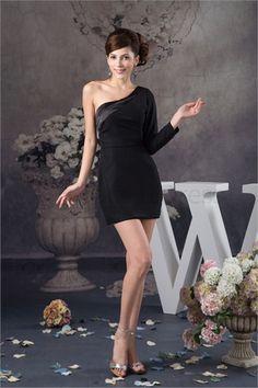 Silk-like Satin Beading Sheath/ Column One Shoulder Holiday Dress