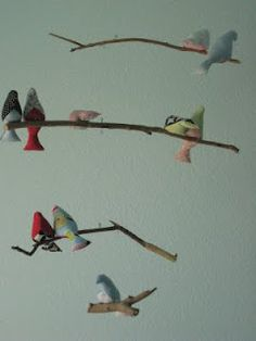 My talented sister-in-law Maren made this Bird mobile. Check out the rest of the darling room