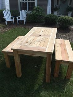 Constructed from Pine or Cedar Lumber. These table are built to last with lifetime warrantied deck screws! All tables are built to order so custom sizes are available. Completely hand built to your order specifications. The each cooler bay has enough space to hold a 12-24 12 oz. cans and bottles Benches and chairs are also available. Just ask!  Shipping dates and production times are constantly in flux. Please contact me for estimated shipping dates prior to placing your order.