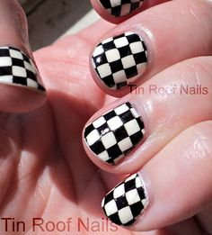 Wave your own checker flag nails when waving to your NASCAR favorites at-track with these cute nails. Spring Nail Trends, Spring Nails, Sexy Nails, Cute Nails, Home Design, Nascar, Checkered Nails, Flag Nails, Pretty Art