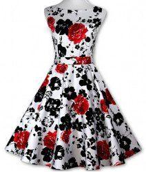 Retro Style Round Neck Sleeveless Floral Print Dress For Women (RED,2XL) | Sammydress.com Mobile