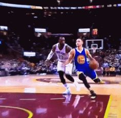 Lebron James blocked Stephen curry.