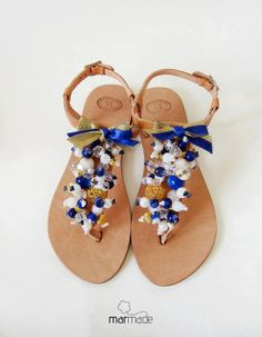 Sandals  handmade leather sandals decorated with by MyMarmade, €42.00