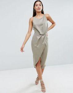 ASOS Soft Drape Midi Dress With Strappy Back