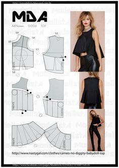 Un crop top es una blusa que deja al descubierto la zona del ombligo. Aquí tienes varias opciones para adaptar este complemento con tu propio patrón.