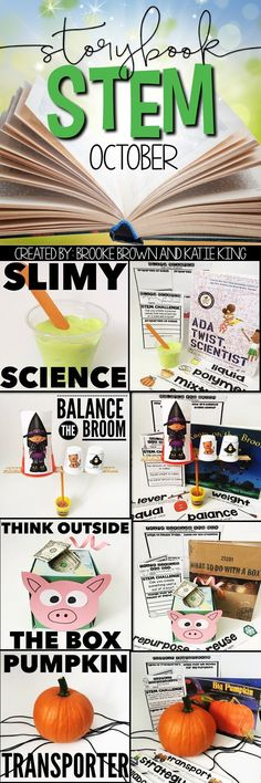 Halloween and fall themed STEM Challenges to match your favorite October read alouds!  Spooky Storybook STEM for Kindergarten, First Grade, and Second Grade
