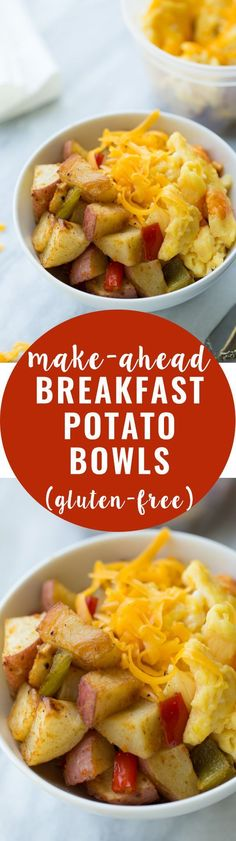 Potato Bowls (Gluten-Free) Make-Ahead Breakfast Potato Bowls! Healthy, satisfying and easy-to-make! (Gluten-Free)Make-Ahead Breakfast Potato Bowls! Healthy, satisfying and easy-to-make! Gluten Free Recipes For Breakfast, Gluten Free Breakfasts, Brunch Recipes, Breakfast Desayunos, Make Ahead Breakfast, Breakfast Ideas, Breakfast Healthy, Breakfast Potatoes, Breakfast Pictures